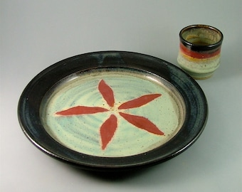Pottery Plate and Cup  Set - Black, Ivory and Red