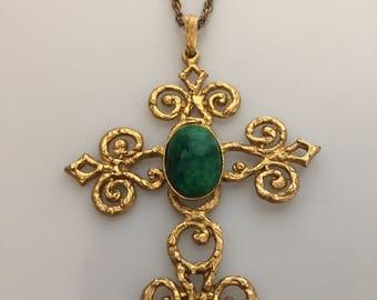1970s Vintage HUGE CROSS Pendant Necklace Jeweled Cross Florentine Style Runway Necklace Openwork Scrollwork Byzantine Cross