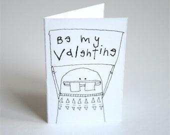 Tiny Miniature Greeting Card & Envelope - Be My Valentine