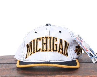 Vintage 90's Deadstock Starter Arch University Of Michigan Wolverines Football NCAA Snapback Hat Baseball Cap