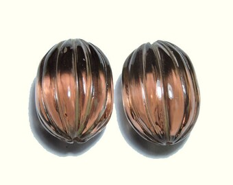 2 Pieces Very Beautiful Rohdolite Quartz Hand Carved Long WaterMelon Loose Gemstone Size 18X14 MM