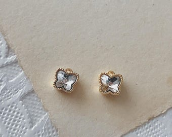 2pcs 6mm small gold swarovski crystal Butterfly pendant