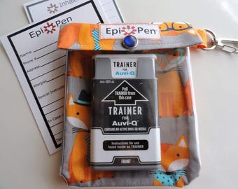 Epi Pen Auvi Q Meds or Asthma Inhaler 4x5 Pouch Clear Front W/ Clip Holds 2 Square Allergy Injectors  or 1 Puffer - Fox Fabric