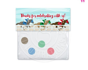 Kentucky Derby Printable Bag Toppers, Horse Racing Thank You Bag Labels, Party Bag Topper, Kentucky Derby Favor Bag Topper, Horse Race Party