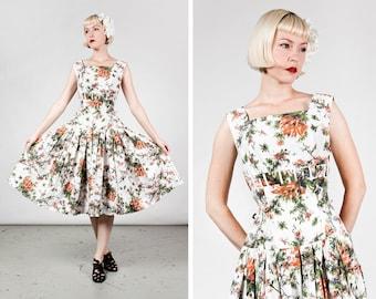 Vintage 1950s Drop Waist White Fall Floral Cotton Dress