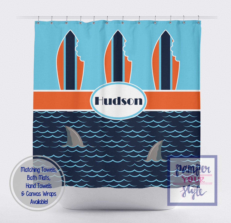 Sharks Shower Curtain Kids Bathroom Decor Custom Kids