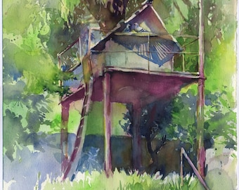 Dovecote watercolor painting - original pigeon house painting or print watercolour on paper