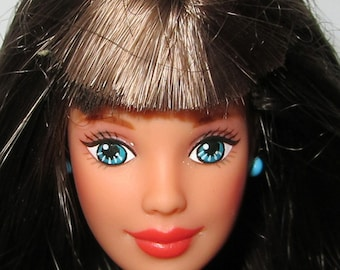 Vintage Teen Barbie Doll Head Brown Long Hair Blue Eyes for Customization Hair Re-root OOAK Repaint Art Dolls