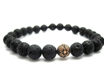 Mens Lava Rock & Copper Bead Bracelet