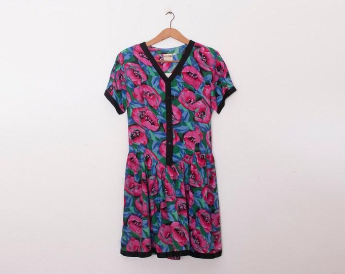 90s NOS vintage shirt dress floral