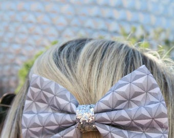 Spaceship Earth EPCOT ball Inspired Disney Fabric Glitter Hair Bow. Perfect for Dress Up, Disneybound, and Cosplay. For Adults, Kids