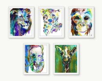 Safari Prints Set of 5 Watercolor Prints, Nursery Art, Watercolor Nursery Prints, Animal Paintings, Animal Art, Print Set, Zoo Animal Prints