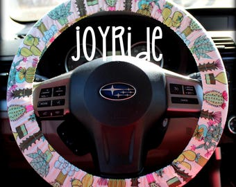 Steering Wheel Cover Cactus Everywhere Fabric with Matching Keychain Option Plant Lovers Succulents Gift for Girls Car Accessories