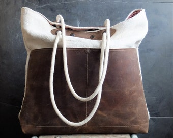 Grain sack  and leather tote bag antique grain sack