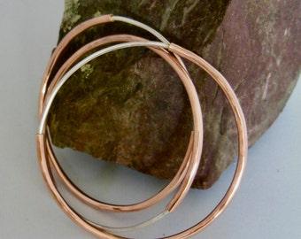 Silver and Copper Bangle Bracelets