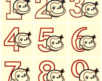 Curious Monkey 1 thur 9 numbers Applique and Embroidery Design These are not Fill and NOT A PATCH
