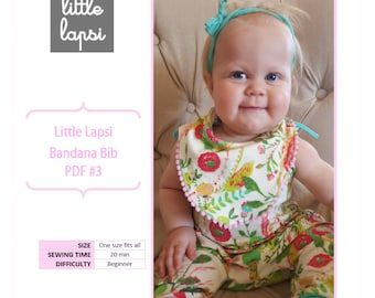 Bandana Bib PDF Pattern. baby bib pattern. Printable pattern by Little Lapsi