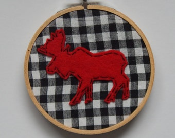 "4"" Moose Embroidery Hoop Ornament"