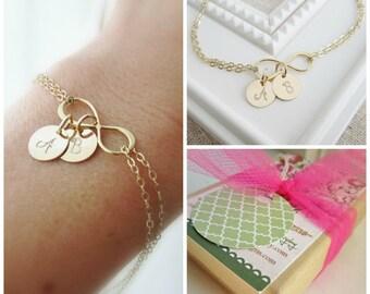 Gold infinity bracelet, personalized mothers bracelet, grandma bracelet, childrens initials, gold initial bracelet, infinity symbol, charms