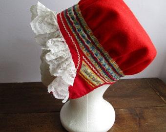 Rare Vintage Saami Hat Laplander Hat Sami Traditional Folk Costume Hat Lapp  Ethnic Scandinavian Women Girl Hat fce0441f5e7