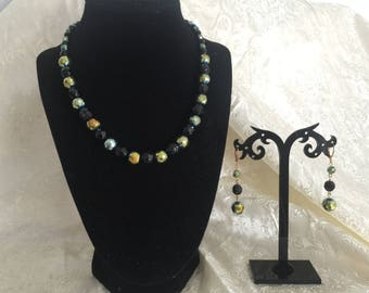 Black Glass Faceted AB Necklace and Earring Set