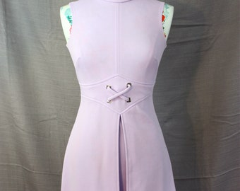 """Vintage Mod Lilac Lavender Polyester Bobbie Brooks Sleeveless Fit-N-Flare Mini Dress Womens  XS Small 32"""" Bust"""