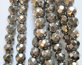 """Faceted Hematite Round Beads 4 mm, Silver Hematite - Full Strand 15 1/2"""", 105 beads, AA Quality"""