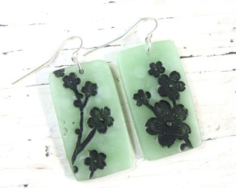 SALE Jade Style Earrings with Black Asian Floral, Handmade Jade Jewelry by theshagbag on Etsy