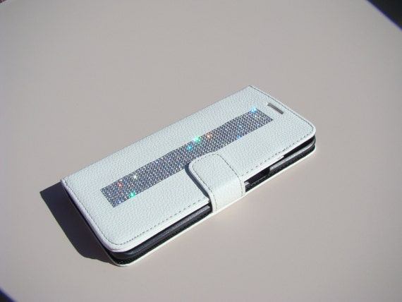 """Galaxy S6  """" Edge Plus """" Clear Rhinestone Crystals on White Wallet Case. Velvet/Silk Pouch bag Included, Genuine Rangsee Crystal Cases."""