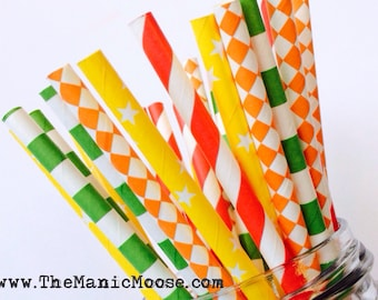 Set of 25 Cinco De Mayo Patterned Straws ~ Perfect for Cinco De Mayo themed parties! Red, Green, Orange, and Yellow Patterned Straws