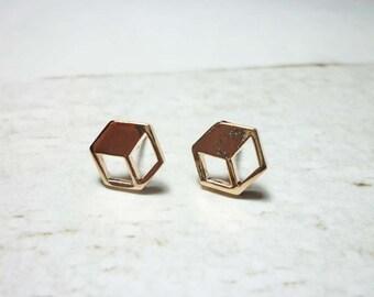 3D Cube Stud Earrings, Dainty Earrings