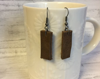 Small Brown Upcycled Leather Drop Earrings // Rectangle Leather Earrings