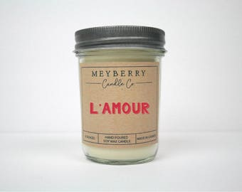 8oz L'amour Scented Candle, Hand Poured Soy Wax Candle, Meyberry Candles, Valentine Gift, Soy Candles, Valentines Day Gift