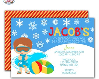 Winter Pool Party Invitation, Winter Pool Party Birthday, Pool Party Invitation, Winter Birthday Party