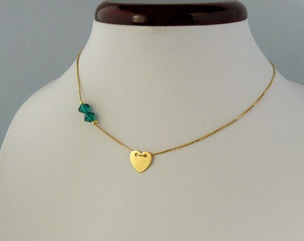 Tiny Heart Crystal Necklace - Celebrity Necklace - Dainty Heart Necklace - Gold Necklace - Christmas gift - wife - friend - sister