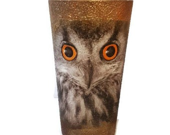 Owl lover water cup decoupage handpainted hydro cup juice glass gift for kids, gift for birthday, gift for friends kitchen decor, home decor