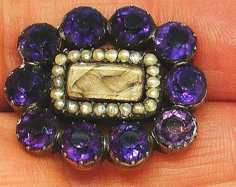 Antique Georgian Amethyst seed pearl mourning hair pin brooch