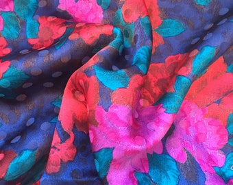 """Vintage John Kaldor Blue,Pink & Green Bold Floral Embossed Polyester Fabric 44"""" PRICE PER YARD- vintage fabric,bright floral fabric"""