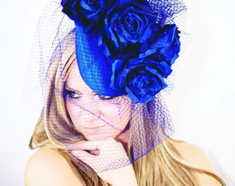 Colbalt stunning pillbox design by Gemma j millinery