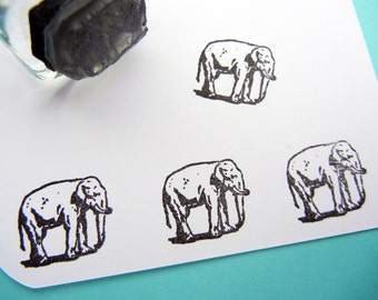 Tiny Elephant Rubber Stamp - Handmade rubber stamps by BlossomStamps