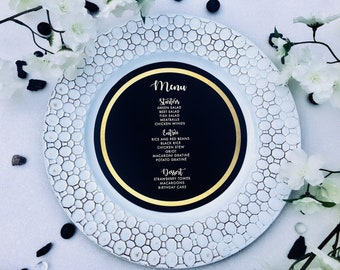 Gold and Black Round Menu Charger Insert, Gold Metallic Faux Rim Charger Menu, Reception Cards • 110lb or 130lb Cardstock