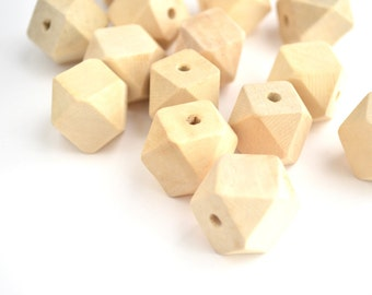 Faceted  Geomeric Wood Beads Bulk, 20mm, Polygon Beads, Unfinished Natural Wood  - 10 pieces