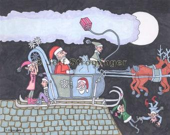 Taking Off Christmas artwork Santa Sleigh Elves