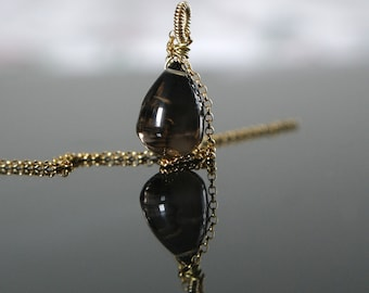 Smoke quartz smooth drops pendant with or without chain smooth smoky quartz drop briolette pendant with or without chain