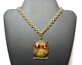 FREE SHIPPING Antiqued brass owl necklace, vintage gold tone heavy link chain, new large rhinestone and antiqued brass owl pendant