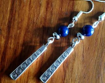Lapis Lazuli Earrings, Bohemian earrings, Ethnic earrings, Boho earrings, Tribal earrings, Silver dangle earrings, Lapis Lazuli Jewellery