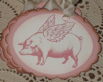 Vintage Pig Oval Scalloped Gift Tag