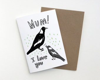 A6 Magpie Mum Greeting Card