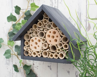 Bee Hotel, Bee House, Wildlife Home, Solitary Bee Home, Bee Hive, Large, in 'Urban Slate'. Can be personalised.