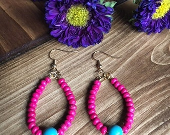 Drop Hoop Earrings - Hot Pink and Turquoise